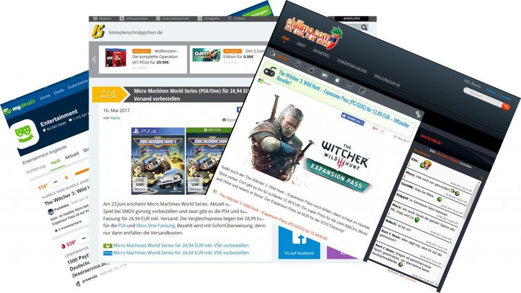 Schnäppchen Seiten helfen um Games günstig zu kaufen