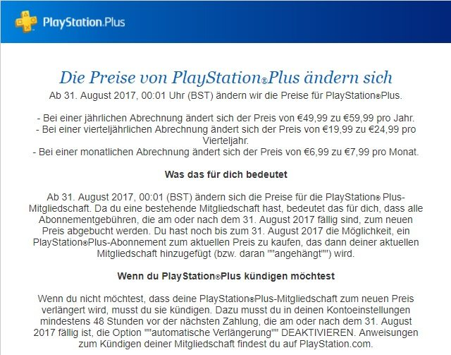 PlayStation Plus Preiserhöhung Sony