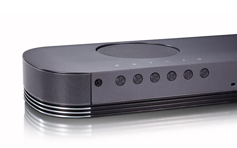 LG Soundbar SJ9 Dolby Atmos Front Gaming Heimkino Rückseite Buttons Winkel