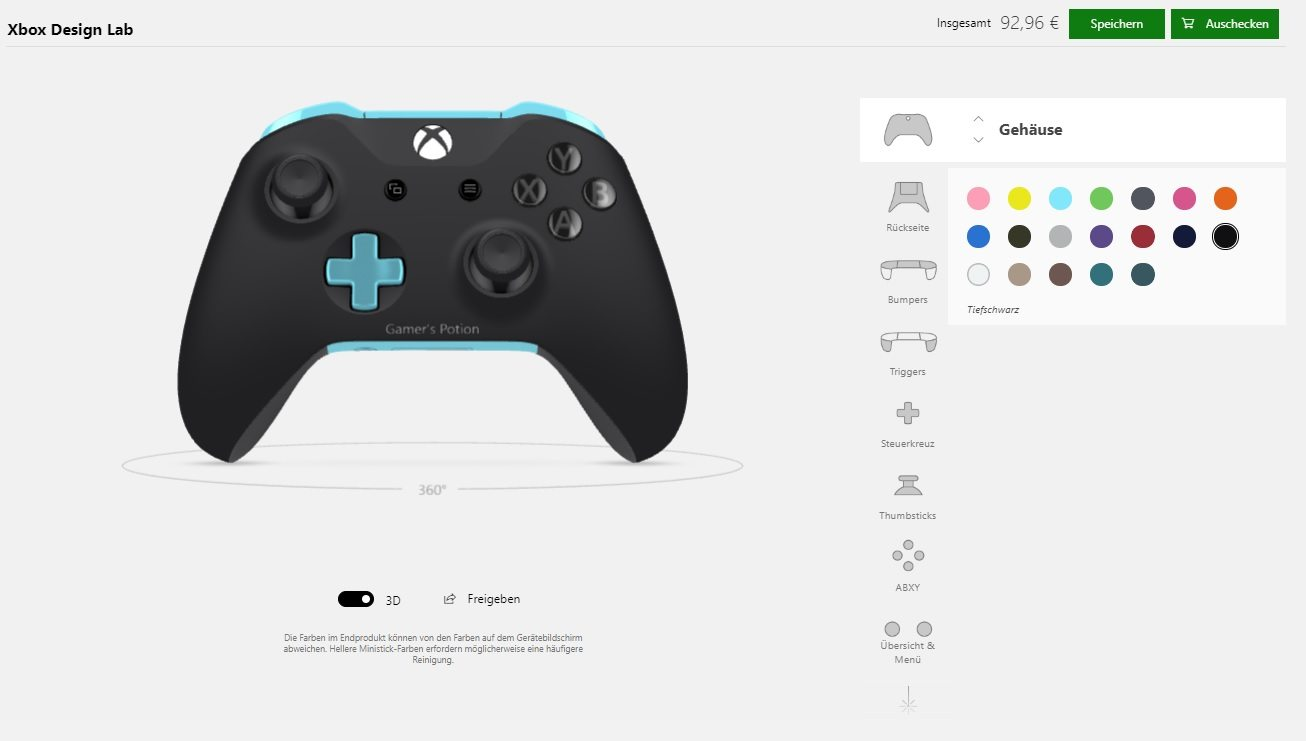Xbox Design Lab Xbox One X Microsoft Controller Gamer's Potion