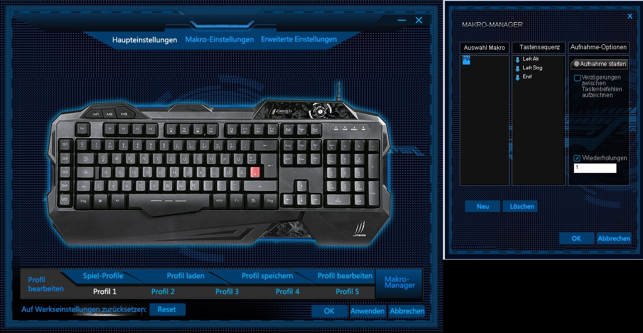 Hama uRage Gaming Tastatur Gaming Maus preiswert design pro gamer Hama uRage Unleashed Hama uRage Exodus Macro Treiber