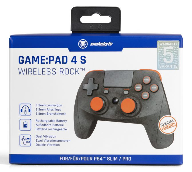 Snakebyte 4s Wireless Rock Game Pad PlayStation 4 Pro Test Review Kritik Bluetooth USB Akku Verpackung