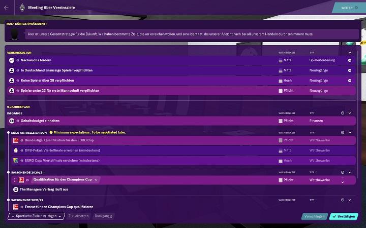 Football Manager 2020 PC Stadia Review Test Krititk Fußball Simulation Management Sport Simulation Sega Ziele