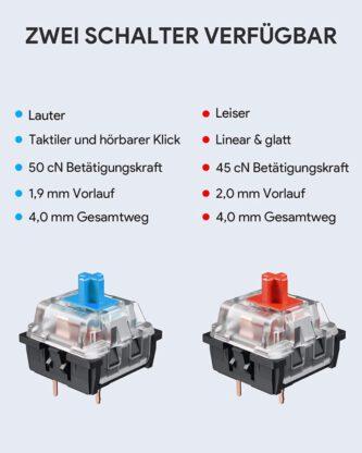 Aukey Gaming-PC-Hardware KM-G12 RGB-Gaming-Tastatur Schalter