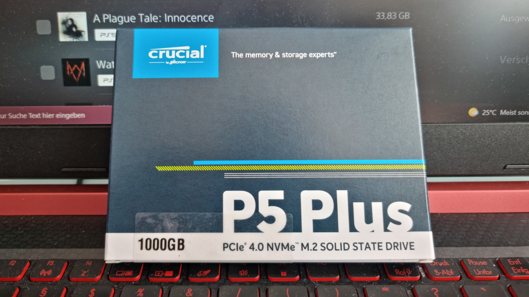 PlayStation 5 M.2 NVME PCIe 4.0 SSD Crucial P5 Plus Hülle